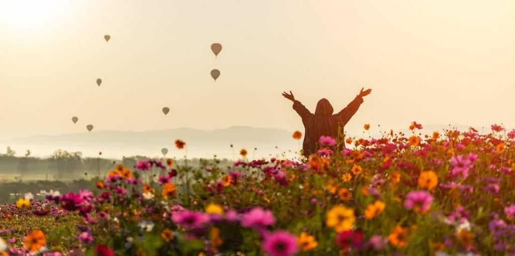 Person happy in field of flowers