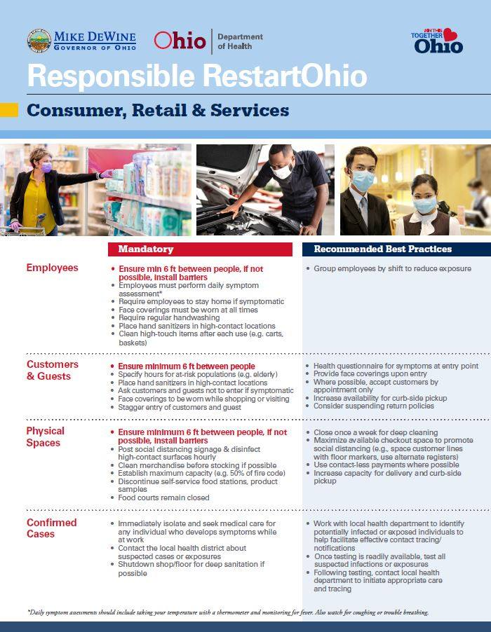 consumer and retail services safety principals for Ohio reopening