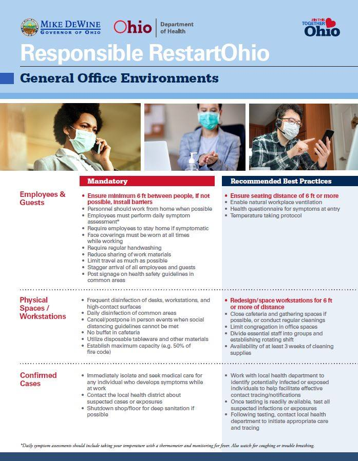 general office environment safety principals for Ohio reopening