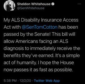Sheldon Whitehouse tweet about ALS disability