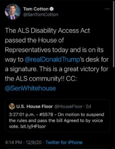 Tom Cotton's tweet about ALS Disability
