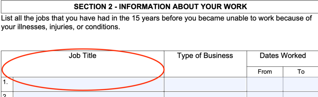 job title ssa work history form